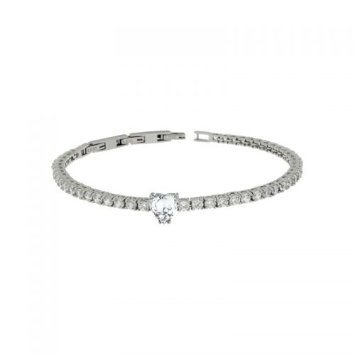 Stainless Steel Bracelet with White Heart Center