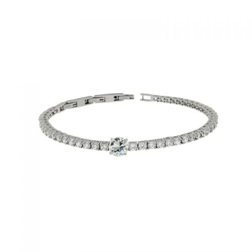 Stainless Steel Bracelet with Cubic Zirconia and White Round Centre