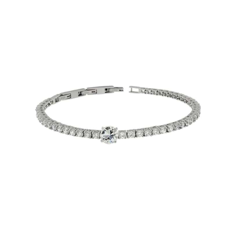 Stainless Steel Bracelet with White Round Centre