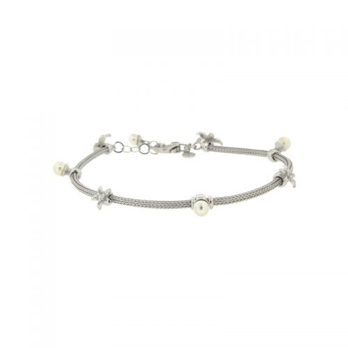 Sterling Silver Braid Bracelet with Swarovski Pearls and Cubic Zirconias