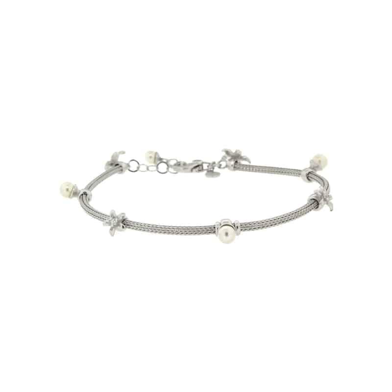 Sterling Silver Braid Bracelet with Swarovski Pearls