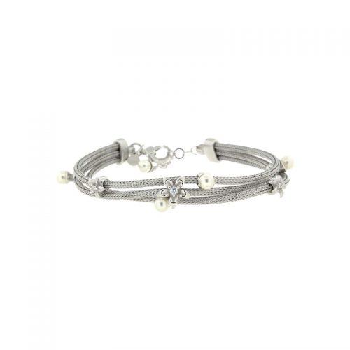 Sterling Silver 3-Wire Braid Bracelet with Swarovski Pearls