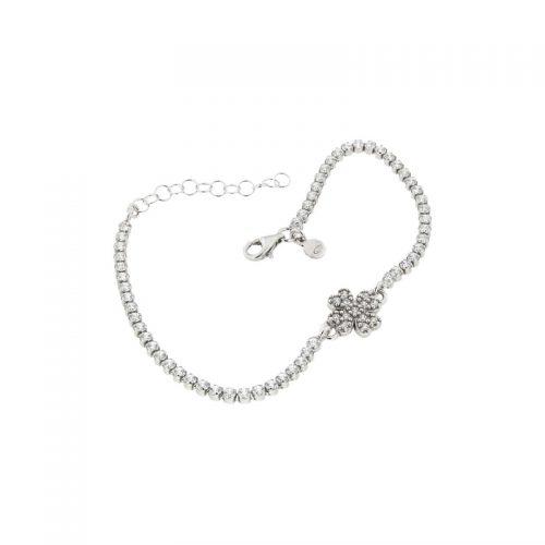 Sterling Silver Clover Leaf Tennis Bracelet