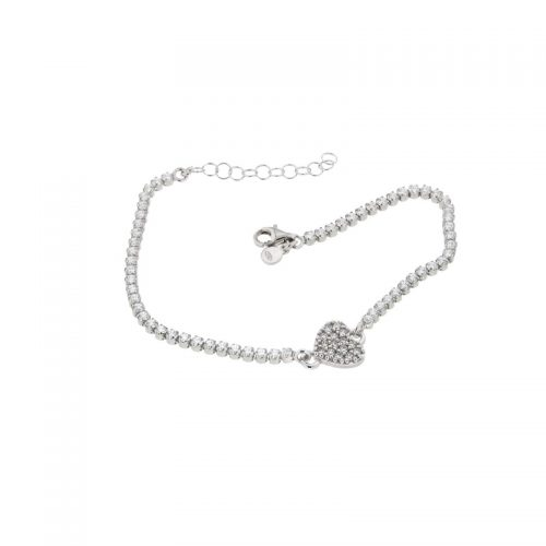 Sterling Silver Heart Tennis Bracelet