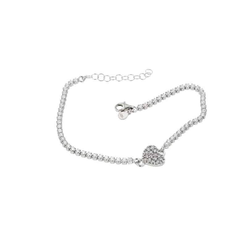 Sterling Silver Heart Tennis Bracelet