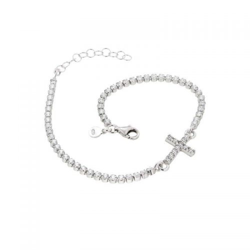 Sterling Silver Tennis Bracelet with Cross