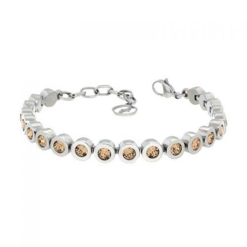 Sterling Silver Bracelet with Light Colarado Swarovski Stones