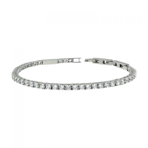 Sterling Silver Tennis Bracelet with White Cubic Zirconias