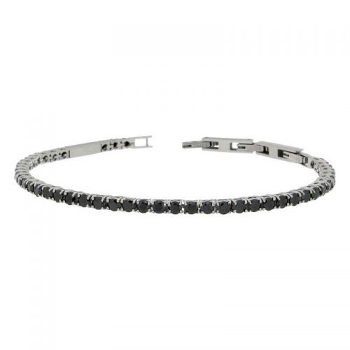 Sterling Silver Tennis Bracelet with Black Cubic Zirconias