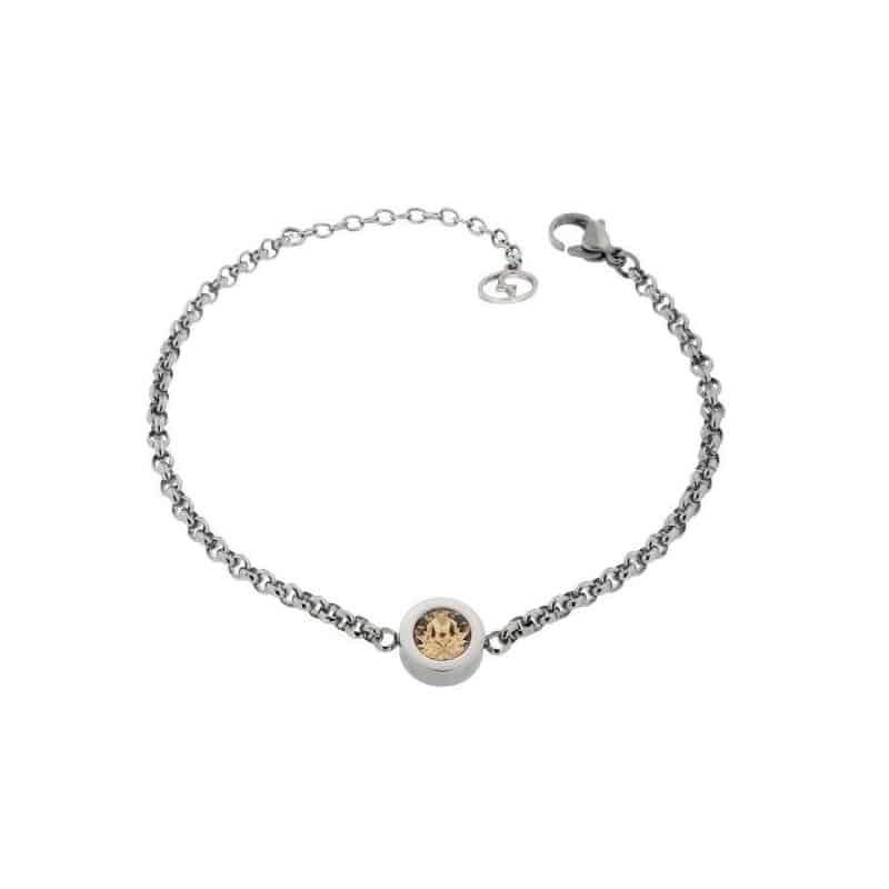 Stainless Steel Bracelet with Light Colarado Swarovski Stone