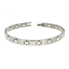 Stainless Steel & White Rubber Bracelet