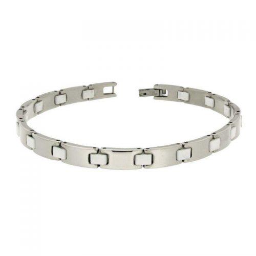 Stainless Steel & White Rubber Bracelet