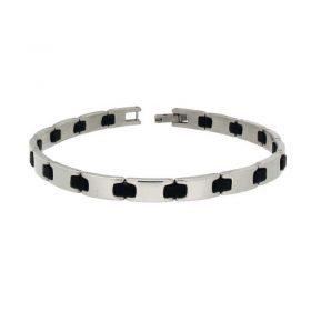 Stainless Steel & Black Rubber Bracelet