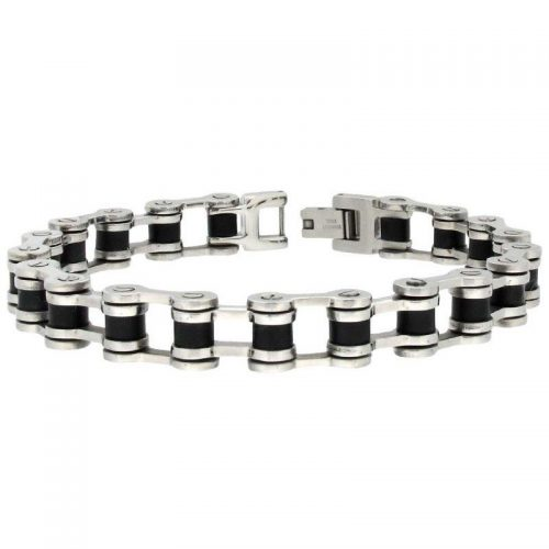 Stainless Steel Bicycle Chain Bracelet with Black PVD