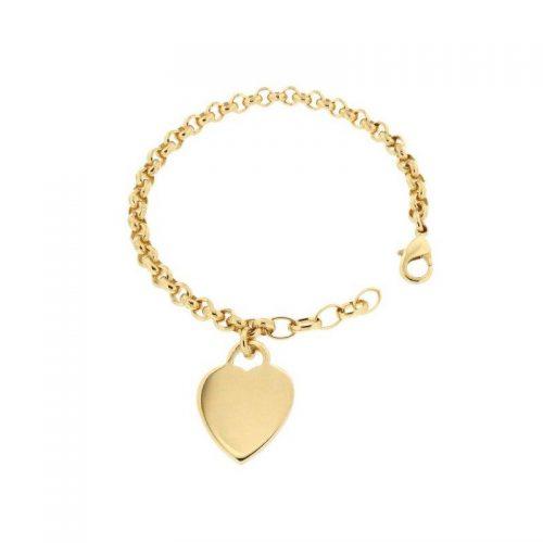Bronze Bracelet with Heart Pendant
