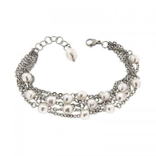 Multi-Strand Steel Bracelet with Baroque White Swarovski Pearls