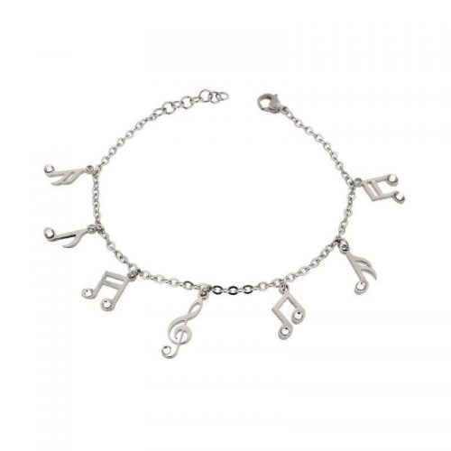 Stainless Steel Bracelet with Musical Notes