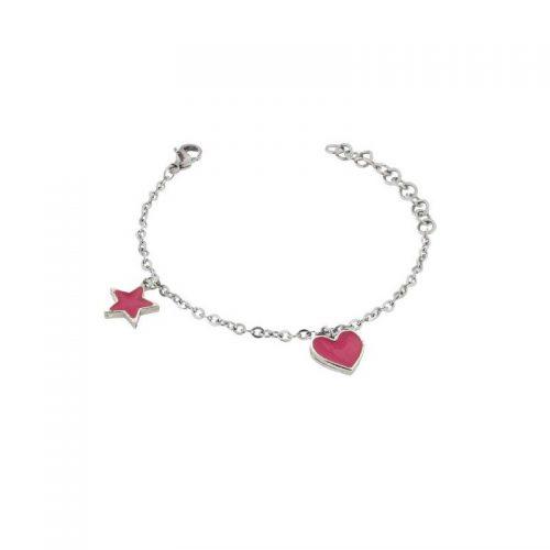 Stainless Steel Heart and Star Bracelet