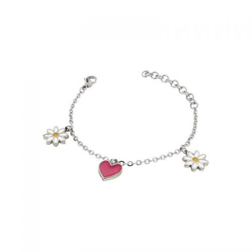 Stainless Steel Heart and Daisy Bracelet