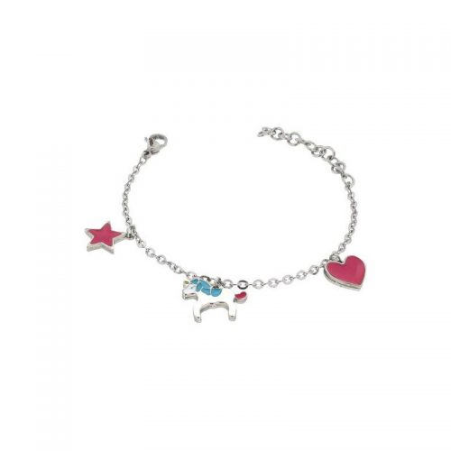 Stainless Steel Heart, Unicorn and Star Bracelet