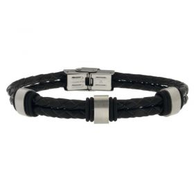 Black Leather Bracelet with Steel Clasp