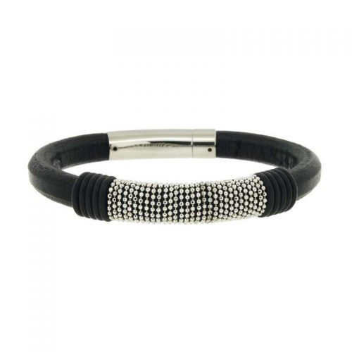 Black Leather and Steel Chain