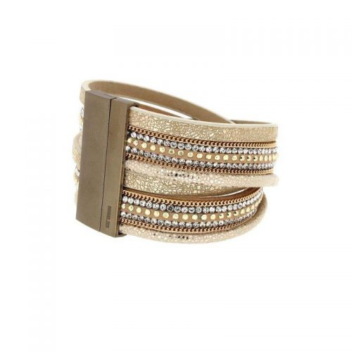 Beige and Brown Multi-Colour Multi Wire Leather Bracelet