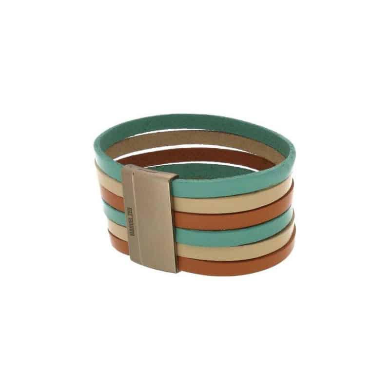 Green, Brown & Beige Multi-Colour Multi Wire Leather Bracelet
