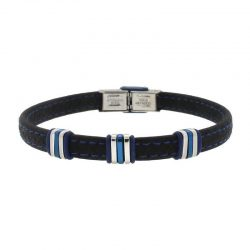 Bracelet with Rubber, Steel and Blue PVD