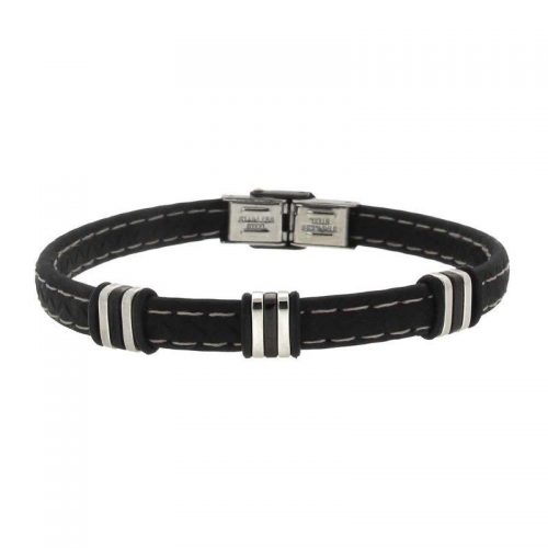 Bracelet with Rubber, Steel and Black PVD