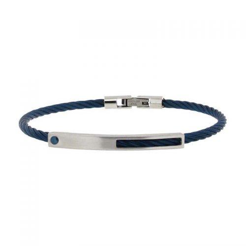 Blue String Silver Plate Bracelet