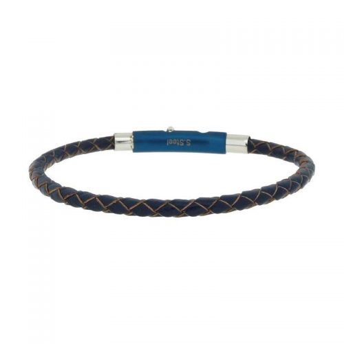 Woven Blue Leather Bracelet with Adjustable Steel Closure