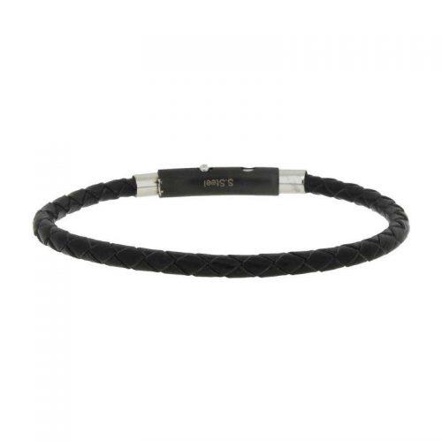 Woven Black Leather Bracelet with Adjustable Steel Closure