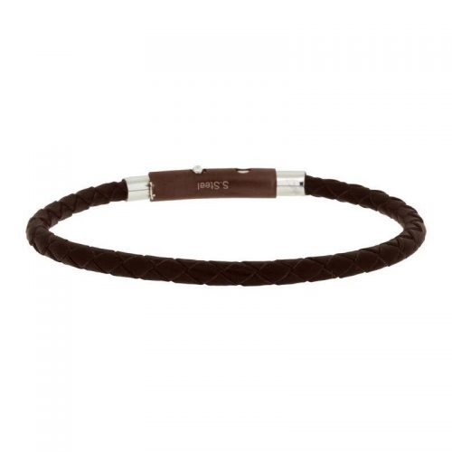 Woven Brown Leather Bracelet with Adjustable Steel Closure
