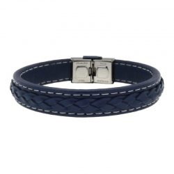Blue Leather Braided Bracelet with Steel Buckle