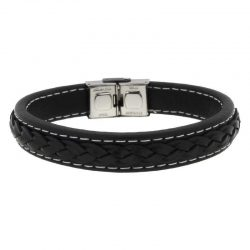 Black Leather Braided Bracelet with Steel Buckle