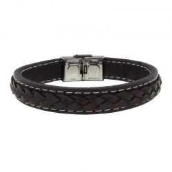 Brown Leather Braided Bracelet with Steel Buckle