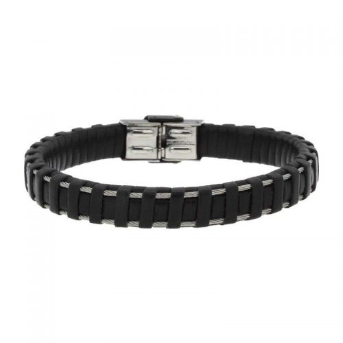 Black Leather Bracelet with Steel Braided Wire