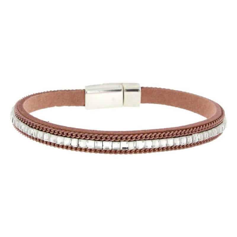 Pink Imitation Leather Bracelet