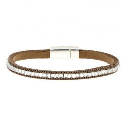 Beige Imitation Leather Bracelet
