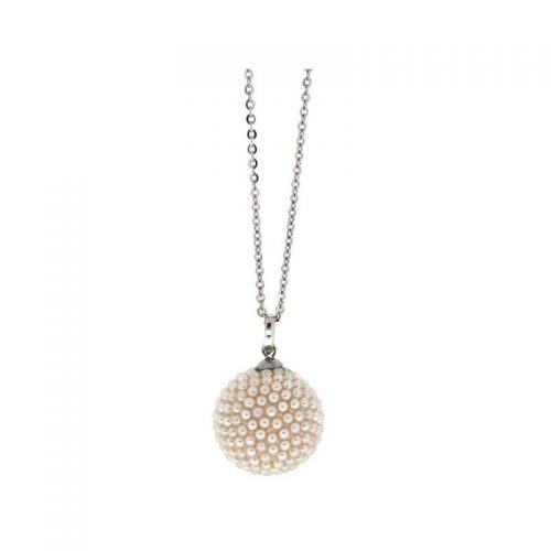 Stainless Steel Necklace with White Micro Beads