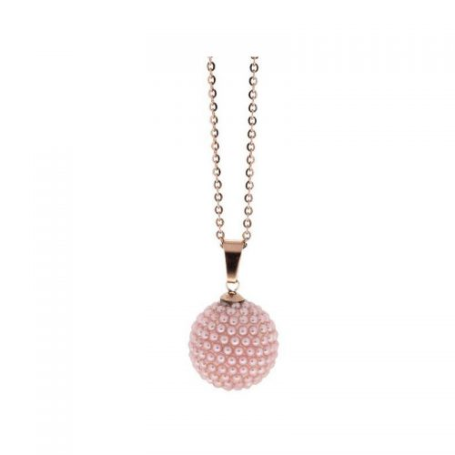 Stainless Steel Necklace with Pink Micro Beads