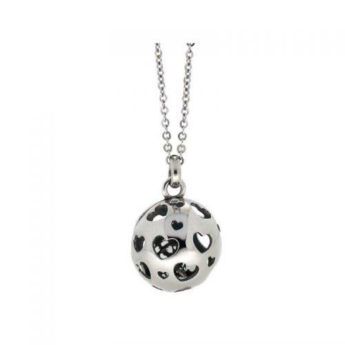 Stainless Steel Pierced Heart Necklace