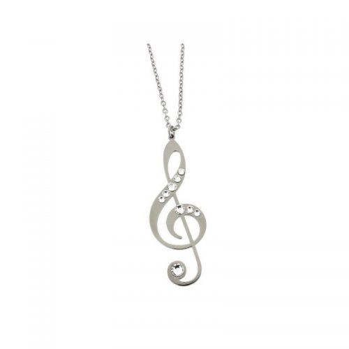 Stainless Steel Musical Note Necklace