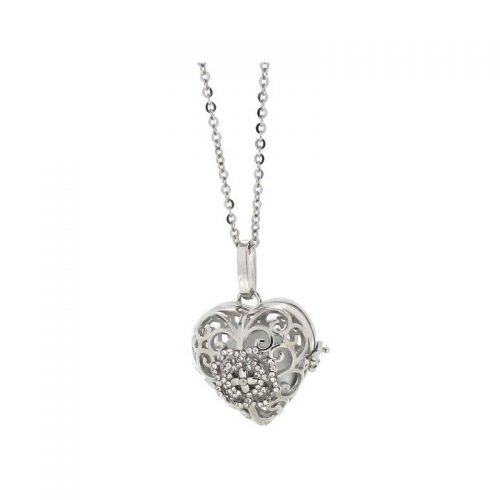 Stainless Steel Round Cage Heart Necklace
