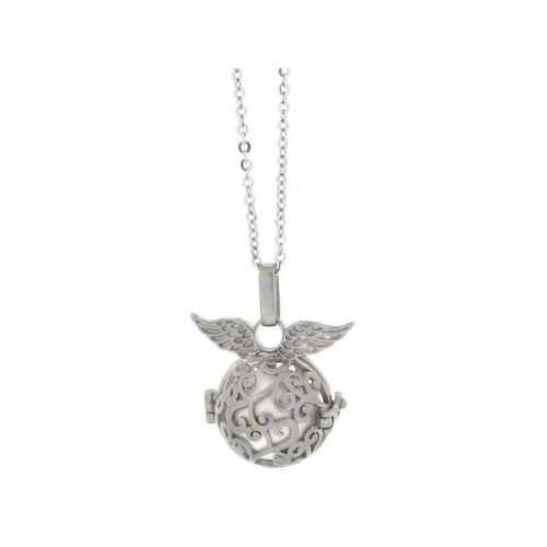 Stainless Steel Round Cage Necklace with Wings