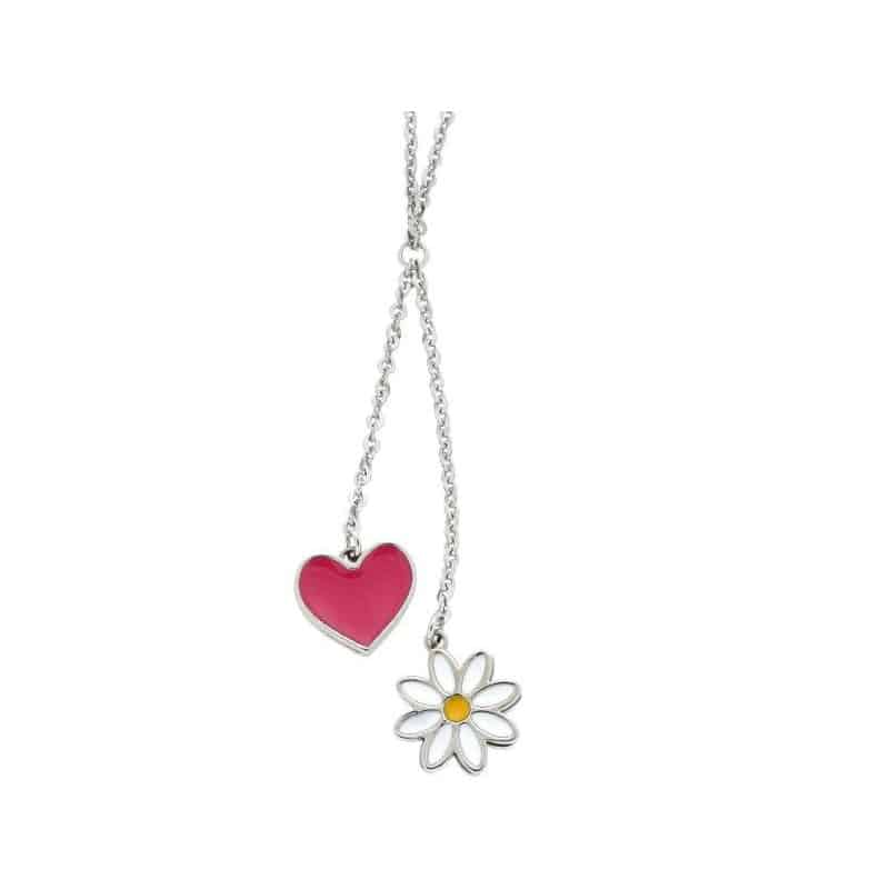 Stainless Steel Heart and Daisy Necklace