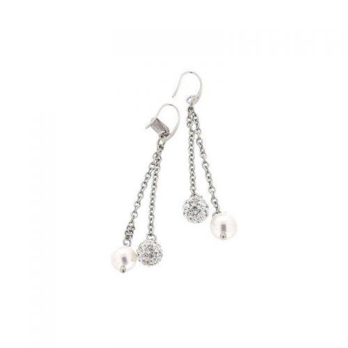 Stainless Steel White Pearl & Swarovski Earrings