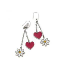 Stainless Steel Heart & Daisy Earrings