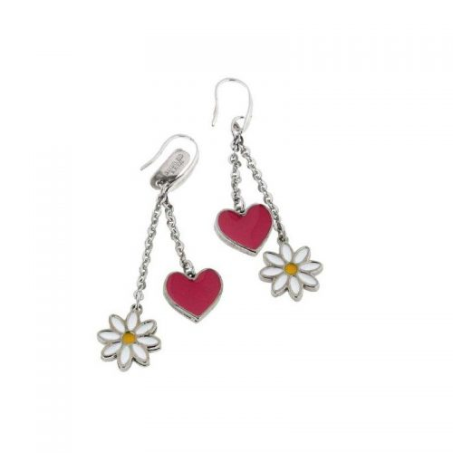 Stainless Steel Heart & Daisy Earrings